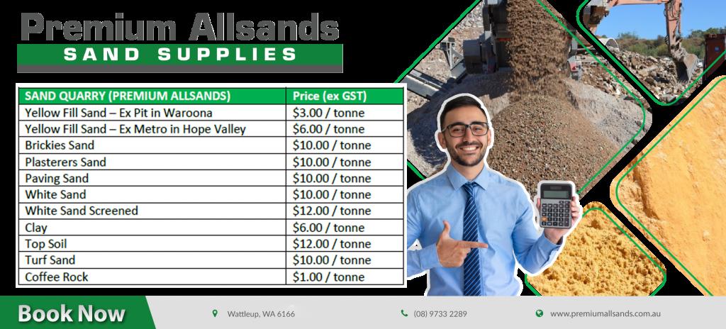sand prices per cubic meter perth